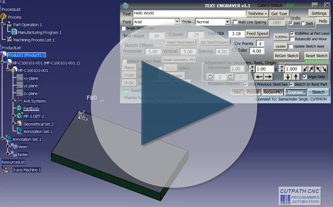 Text engraver write text in catia launch te introduction ccuart Image collections
